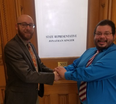Representative Jonathan Singer meets with Team Up Cancer